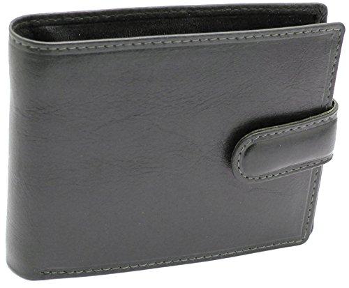 Topsum® London Porte-Monnaie En Cuir Noir Authentique Pour Hommes Avec Carte d'identité Et Pochette De Monnaie En Boîte # 4006 Black