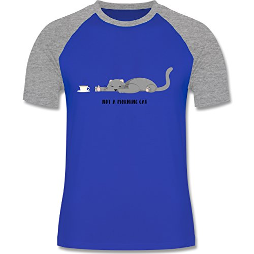 Shirtracer Sprüche Katze Not a Morning Cat Herren Baseball Shirt  Royalblau/Grau meliert