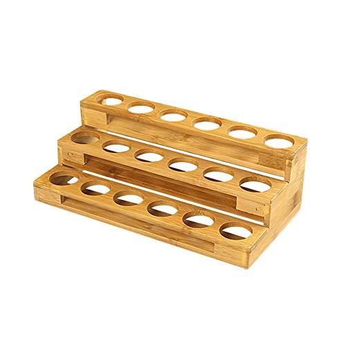 soundwinds Aufbewahrungsbox für ätherische Öle aus Holz ätherische Ölflaschen aus Holz Ausstellungsständer mit Mehreren Abteilen Leiterart Aromatherapie Öle Organizer für bis zu 18 Flaschen (30 ml) -