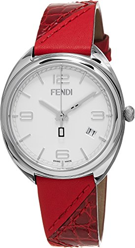 Fendi Women's Momento 34mm Red Leather Band Steel Case Swiss Quartz White Dial Analog Watch F210034073