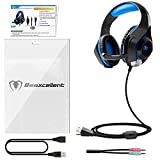 Gaming Headset für PS4 PC Xbox One, Beexcellent LED Licht Crystal Clarity Sound Professional Kopfhörer mit Mikrofon für Laptop Mac Handy Tablet (Blau)