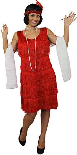 ILOVEFANCYDRESS Charleston FRANSEN Flapper KOSTÜM VERKLEIDUNG Kleid Damen Fasching Karneval =ROTES Kleid -Large+ZIGARETTENSPITZE+WEISSER Stola+Plastik Zigarette+PERLENKETTE