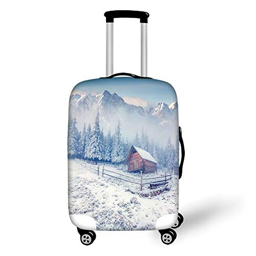 Travel Luggage Cover Suitcase Protector,Winter,Old Farmhouse in Snow Season Mountains and Frosted Forest Rustic Life Photography Decorative,,for Travel,M Frosted Old Fashion Set