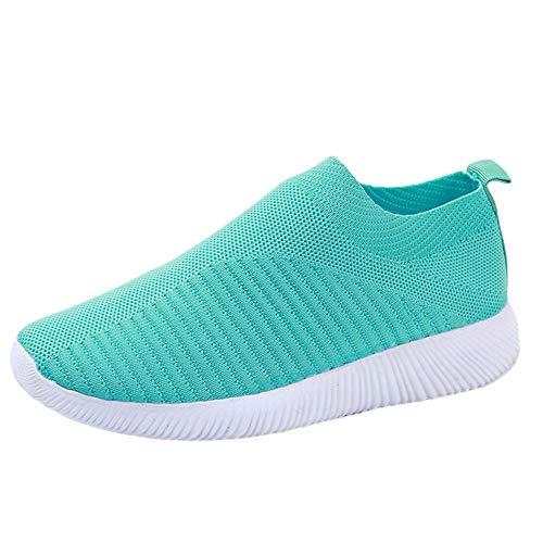 YWLINK Damen Socken Schuhe Outdoor Schuhe Freizeit Slip On Bequeme Sohlen Sports Licht Atmungsaktiv Mesh Sneakers Laufschuhe Turnschuhe Fitnessschuhe Bequeme Schuhe(Grün,39 EU)