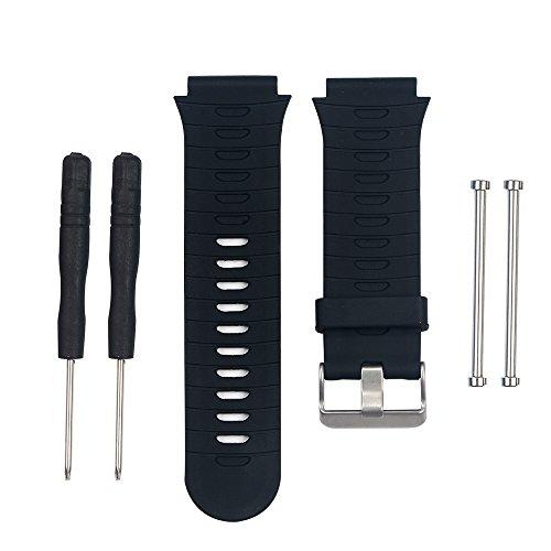 BlueBeach® Silicio Sustitución de la correa de pulsera para Garmin Forerunner 920XT (Negro)