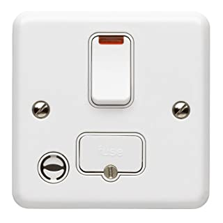 MK Metalclad Plus K3072 WHI 13 amp Switched Fused Connection Unit Plus Neon and Flex Outlet