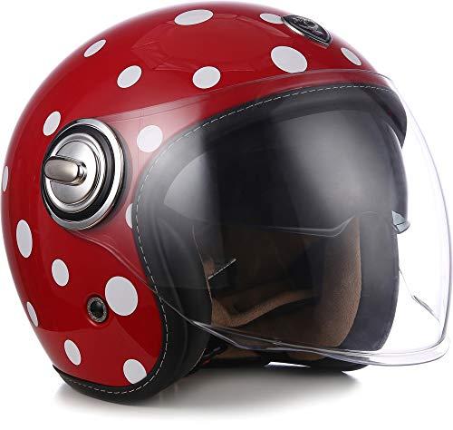 "Soxon® SP-888 ""Bubble"" · Jet-Helm · Motorrad-Helm Roller-Helm Scooter-Helm Bobber · ECE Sonnenvisier Schnellverschluss SlimShell Tasche M (57-58cm)"
