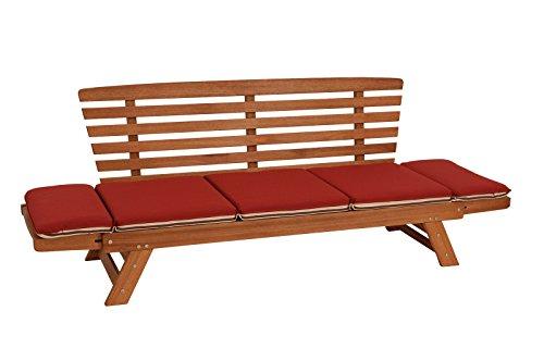 Garten – Liegesofa TIROL 202cm mit klappbaren Seitenlehnen, Eukalyptusholz, mit Wendeauflage rot beige, FSC®-zertifiziert - 3