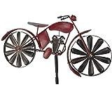 HOLZWURM Gartenstecker Metall Motorrad Moped Rot MT88 Windspiel Windrad Wetterfest Gartendeko Garten Gartenstab Bodenstecker