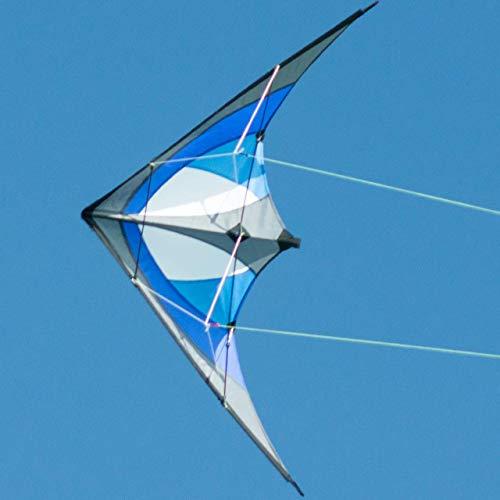 CIM Lenkdrachen - Shuriken MUSTHAVE Blue Sky - Drachen für Kinder ab 8 Jahren - 120x60cm - inklusiv Steuerleinen auf Rollen - Einsteiger Lenkdrachen