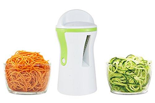 ZOORON manuel portable 3 en 1 Découpe-légumes Veggie trancheuse spirale courgettes Pâtes Spaghetti Maker réglable avec lames en acier inoxydable