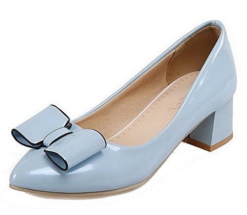 VogueZone009 Damen Ziehen auf Mittler Absatz PU Leder Rein Spitz Zehe Pumps Schuhe, Gelb, 41