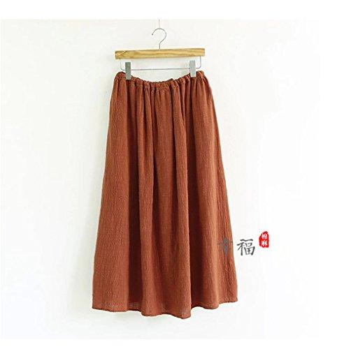 Womens rétro style chinois de couleur unie en coton lâche robe jupe moitié jupe Un rouge