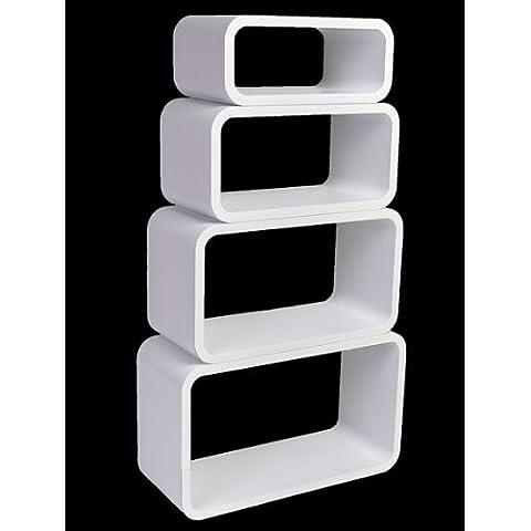 Estanterias Flotantes Diseño Moderno Cubos Para Pared con Forma de Cubo CD Retro Librero Blanco