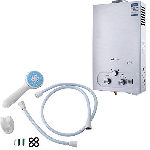 BananaB Warmwasserbereiter gas 12L Propangas Durchlauferhitzer Warmwasserbereiter Boiler Warmwasserspeicher Tankless Instant mit Duschkopf und LCD Display (Durchlauferhitzer Boiler)