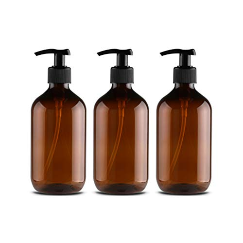 Wasser-bad-labor (3 Stück 500ml Leeren Bernstein Braun Plastikflaschen Lotionsflaschen Lotionspender mit Pumpe für ätherisches Öl Flüssigseife Shampoo auf der Arbeitsplatte von Bad und Küche Pumpe Drücken Flasche)