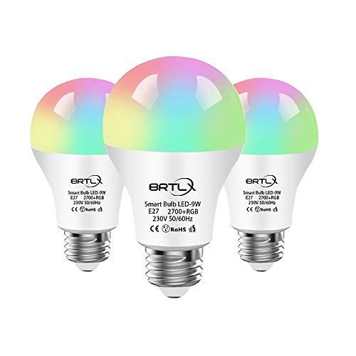 Lampadina Intelligente,BRTLX Lampadine Smart LED WiFi E27 9W RGB, 800LM Dimmerabile, Controllo iOS Android APP, Compatibile con Alexa e Google Home,3 Packs