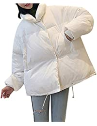 BURFLY Women Casual Oversize Coat Cotton Padded Jacket, Lady Warm Solid Colour Pillow Collar Coat