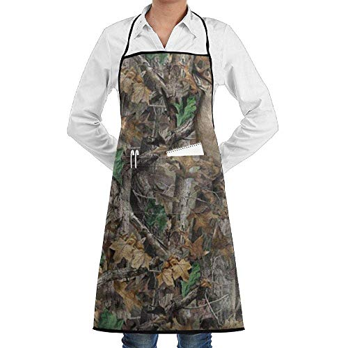 Drempad Schürzen Adjustable Bib Apron with Pockets - Commercial Restaurant and Home Kitchen Apron - Realtree Camo Wallpapers Print