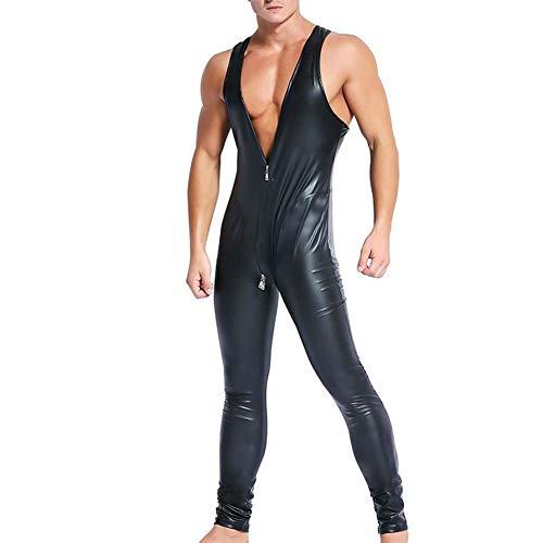 l Wet Look Leder Latex Catsuit Ärmelloser Zipper Open Crotch Body Kostüm Rot und Schwarz ()