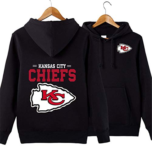 SZRXKJ Herren Hooded Langarm Kansas City Chiefs Sport einfarbig Pullover Hoodies(4XL,schwarz)