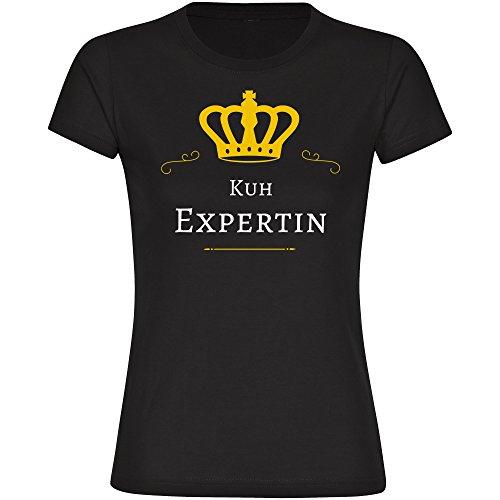 T-Shirt Kuh Expertin schwarz Damen Gr. S bis 2XL, Größe:L (Boxer Kuh)