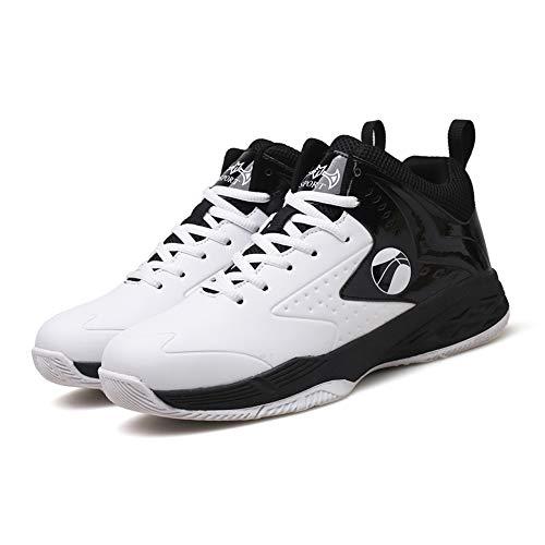 FHTD Herren Jungen Basketballschuhe Hohe Sneakers Atmungsaktiv Ausbildung Outdoor Freizeit Sport Turnschuhe,White,43