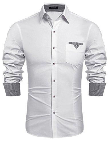 Hasuit Herren Hemd Baumwolle Slim Fit Langarm Farbekombination Basic Mode Weiß