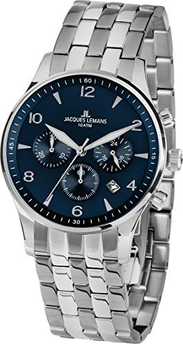Jacques Lemans Reloj Cronógrafo para Hombre de Cuarzo con Correa en Acero Inoxidable 1-1654ZG