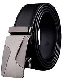 Panegy - Cinturón Para Hombres de Cuero Piel con Hebilla Automática de Aleación - Negro - 105cm 110cm 115cm 120cm 125cm 130cm
