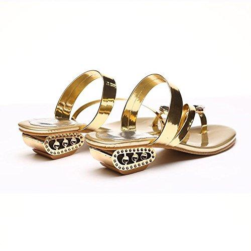 Frau Sandalen,Böhmen Flip Flop Schuhe Strass Wulstige Flache Thong Sandalen,Gold, Silber, Schwarz 37