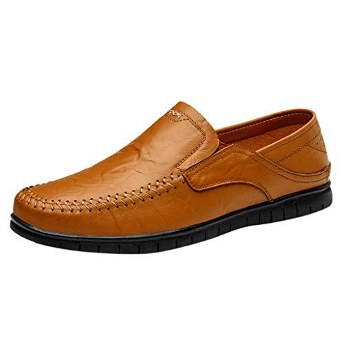 LANSKRLSP Scarpe Uomo - Mocassini Uomo di Pelle Bucciata comode Loafers Scarpe Casual Nero Marrone Giallo 39-45