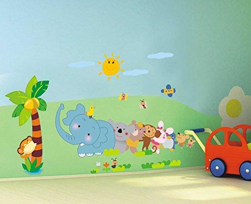Yelloo adesivo da parete murale decorazione stickers camera bambini bimba animali ay639