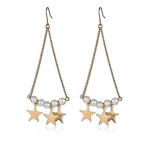 AMDXD Bijoux Plaqué or boucles d'oreilles pour femme Perle étoile Doré 81x 35mm
