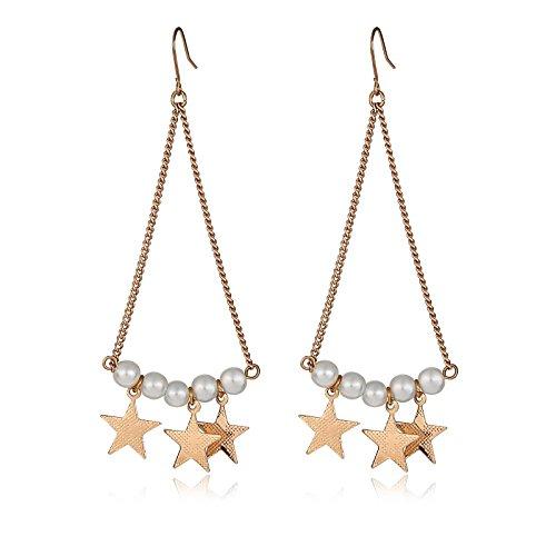 hrringe Vergoldet Ohrhänger Fünfzackiger Stern Perle Gold Ohrringe (Kirsche Zuckerstangen)
