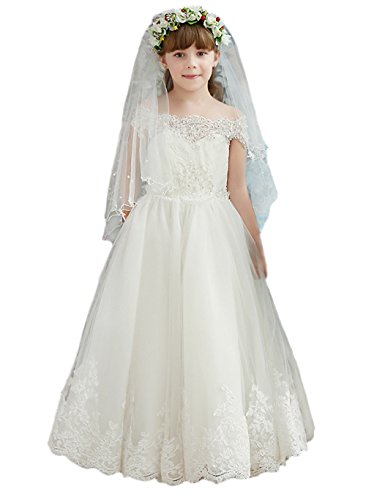 KekeHouse® Schulterfrei Tüll Geblümt Lang Blumenmädchenkleid mit Schleife Hochzeit Fest Kinderkleid Partykleid mit Tailenband Weiß Elfenbein Weiß