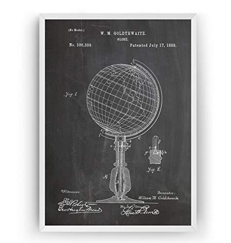 Globus 1888 Patent Poster - World Globe Jahrgang Drucke Drucken Bild Kunst Geschenke Zum Männer Frau Entwurf Dekor Vintage Art Blueprint Decor - Rahmen Nicht Enthalten (Globe Bild)