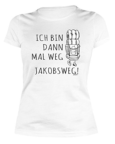 Unbekannt Damen Tshirt Pilger Damenshirt Pilgerurlaub : Ich Bin dann mal Weg Jakobsweg! - lustiges Sprüche Sportshirt Pilgern Frauen Gr: L Frauen Pilgern