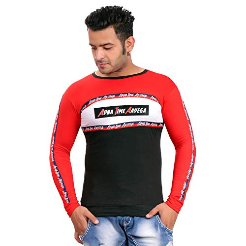 CQS FASHION Latest Collection Men's Printed Apna Time Aayega Round Neck Full Sleeve Cotton T-Shirt (Red/Black)