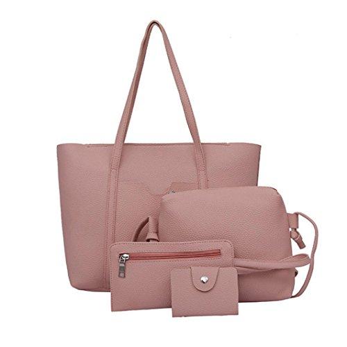 Longra Borsa a tracolla in quattro borse a tracolla per quattro borse a quattro pezzi borsa a tracolla Rosa