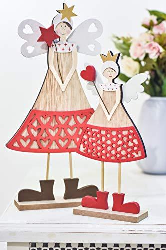 Valery madelyn angelo di natale angelo in legno figurina 2pcs con ali 23/30,5 cm per allestire decorazione invernale figurina decorazione in legno angelo in legno decorazione natalizia