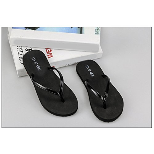 Zhhlinyuan Women's Casual Flat Shoes Adult Beach Non-slip Sandals Slippers 21002 Black