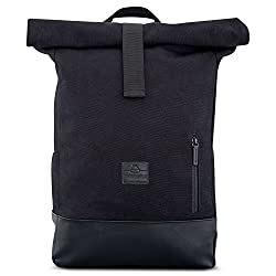 Backpack Women & Men Black - JOHNNY URBAN Roll Top Daypack made of cotton canvas & vegan leather - Casual vintage daypack for everyday wear - Water repellent & very flexible