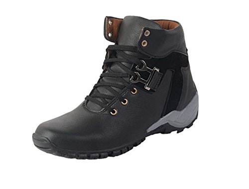 Axonza Men'S Black Synthetic Leather Shoes