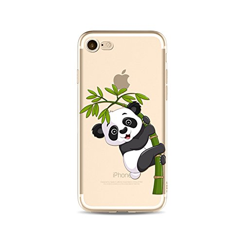 "CoqueiPhone 7 Plus Etui Housse,BoomTeck Coque Pour 5.5"" Apple iPhone 7 Plus Silicone Souple Transparente Motif Clear Ultra Mince Anti Choc Anti-rayures Gel TPU Etui Protection Bumper Case Panda Migno 05"