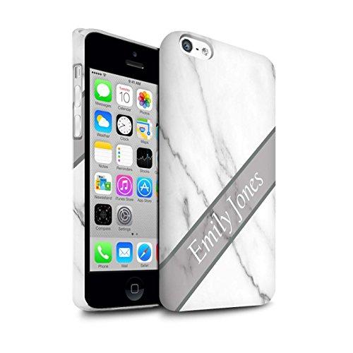 Personalisiert Individuell Marmor Matte Hülle für Apple iPhone 7 Plus / Schwarze Schärpe Design / Initiale/Name/Text Snap-On Schutzhülle/Case/Etui Silber Schärpe