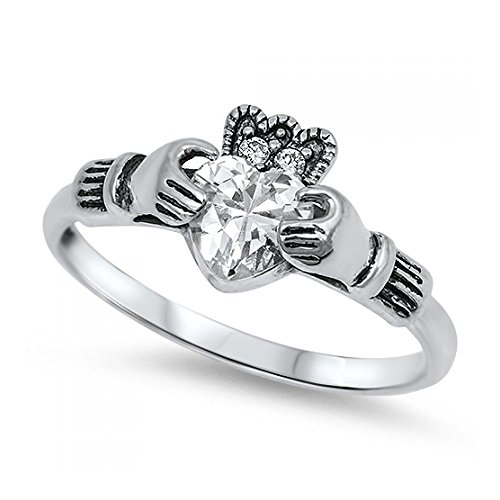 Ring aus Sterlingsilber mit Zirkonia - Claddagh Ring (Claddagh Diamant Mit Gold Ring)