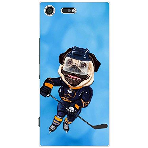 Eishockey-bilderrahmen (Eishockey Mops mit Schlittschuhen & Schläger Hartschalenhülle Telefonhülle zum Aufstecken für Sony Xperia XZ Premium)