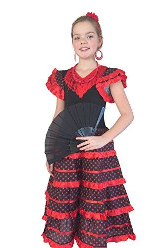 La Senorita Flamenco Kleid Schwarz Rot - Größe 6 - Länge 70 cm, Größe 104 - 110 - für 5-6 Jahr (Flamenco-tänzerin Zubehör)
