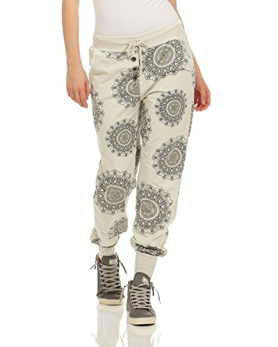 ZARMEXX Damen Sweatpants Sweathose Baumwollhose Jogger Jogginghose Freizeithose Relax Fit Damenhose Mandala-Print (beige, 36-40) (Mandala-prints)